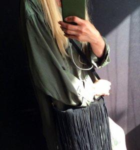 Бренд: ZARA сумка из натуральной замши с бахромой