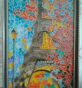 """Картина на стекле""""Эйфелева башня"""""""