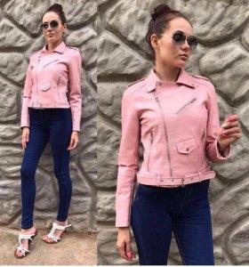Новая куртка кожаная косуха розовая женская пряжка
