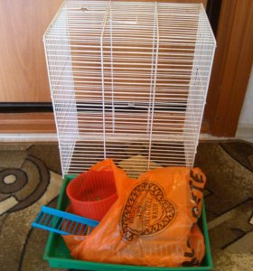 Клетка для хомячков 3 этажа, поилка,домик,колесо