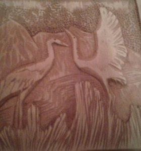 Стерхи картина из дерева ручная работа