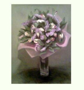Букет цветов пастелью. Картина