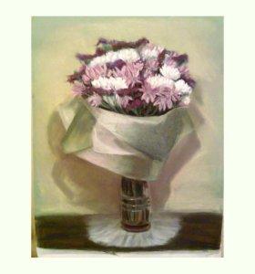 Букет цветов. Картина пастелью