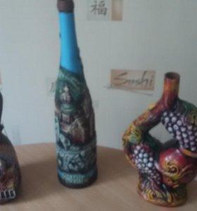 Бутылки глиняные