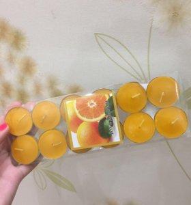 Свечи декоративные с апельсином)