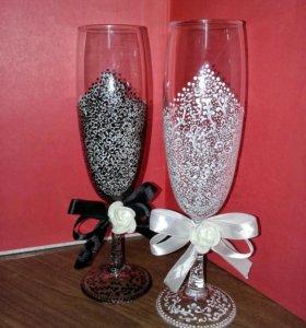 Фужеры (бокалы) свадебные