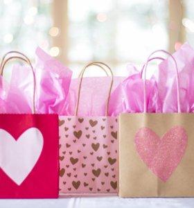 Пакеты подарочные, коробки подарочные