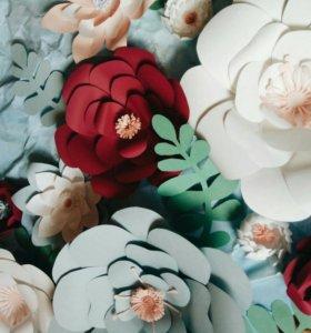 Декор на свадьбу бумажные цветы