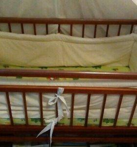 Детская кровать-маятник + матрас