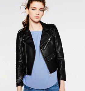 Куртка-Бомбер чёрная из экокожи Zara (Новая)