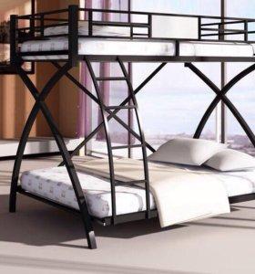 Металлическая двухъярусная кровать Вмеьола