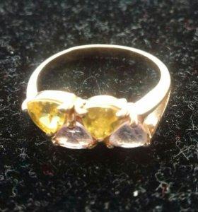 Золотое 585 кольцо,с натур.аметистами и цитринами