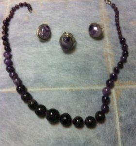 Комплект: серьги,кольцо и бузы из аметиста.
