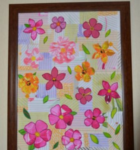 "Картина из ткани ""Цветы"""