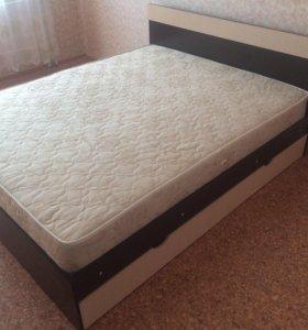 новая кровать с матрасом, ортопедом ящиками.
