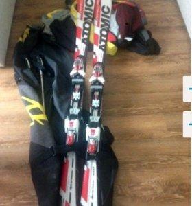 Горнолыжный комплект Лыжи,палки,крепление,ботинки