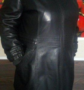 Кожаная куртка удлиненная