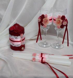 свадебные бокалы, свадебные свечи