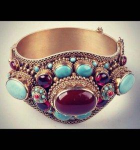 Серебро золотой камень шипованное браслет