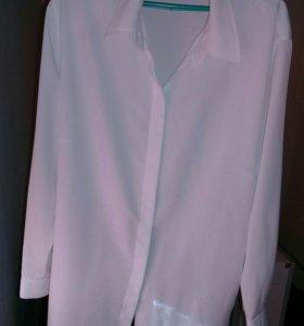 Женская белая блуза 56р классика имп.