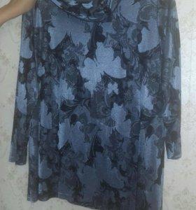 Блуза синяя с узором демисезон