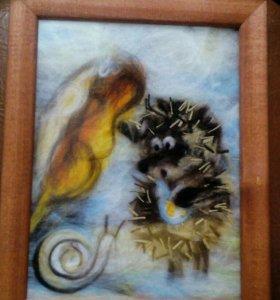 Картина,шерстяная акварель.