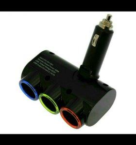 Разветвитель в прикуриватель с USB для авто новый