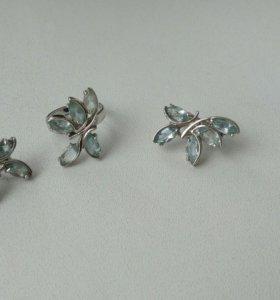 Серьги и кольцо (серебро, топаз)