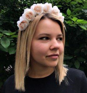 Ободок с цветами 🌺 ручная работа