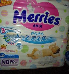 Подгузники merries newborn до 5 кг