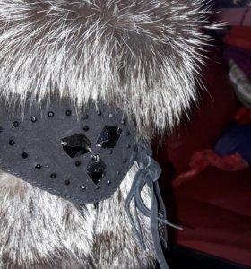 Сапожки зимние замшевые с чернобуркой
