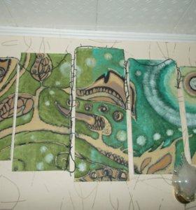 Модульная картина в зеленых тонах