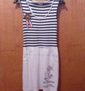 Летнее платье в стиле морячка