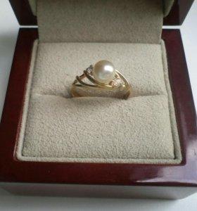 Кольцо Испания серебро 925 в позолоте с жемчугом