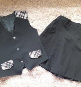 Школьный комплект: жилет и юбка