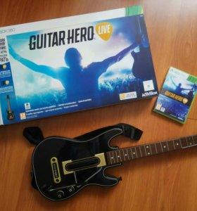 Гитара-контроллер + игра Guitar hero live xbox 360
