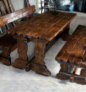 Стол со скамейками под старину на веранду