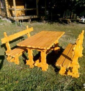 Стол со скамейками в беседку