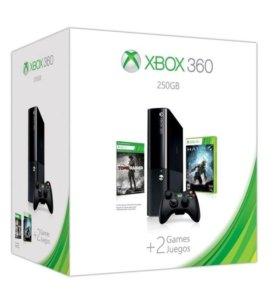 Xbox Slim 360E 250gb + 2 игры + адаптер к пк