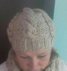 Набор(шапка, снут)вязанный ручной работы