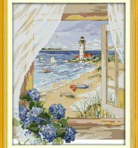 Срочно Картина Вышивка крестом Маяк в море