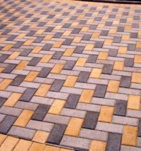 Укладка тротуарной плитки и асфальта.