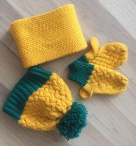 !Шапка+варежки+шарф!