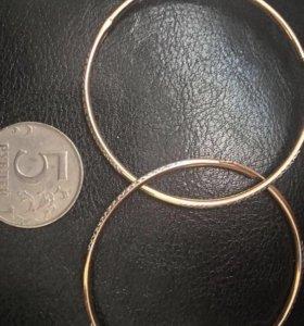 Серьги большими кольцами золото 585 3,58г