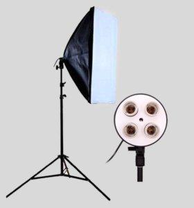 👉 Софтбокс на 4 лампы + стойка + лампы