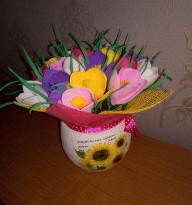 Горшочек с цветами ручной работы
