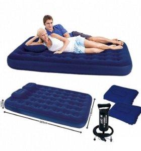 Матрас надувной двухместный 2 подушки  + Насос