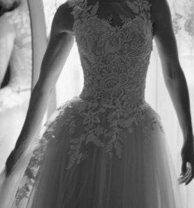 Нежное пудровое свадебное платье 40-42 р-р