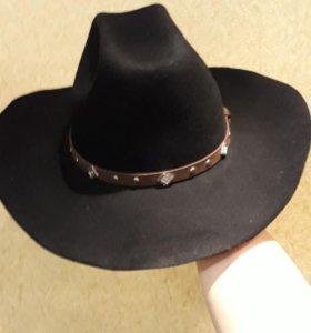 Шляпа ковбойка из фетра