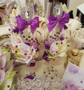 Свадебные бокалы,бутылки приглашения .все для свад